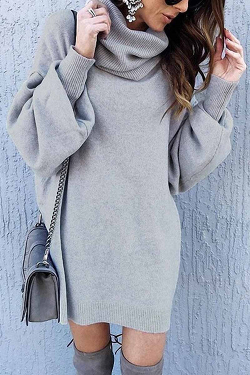 Florcoo Loose-Fit Turtleneck Dress