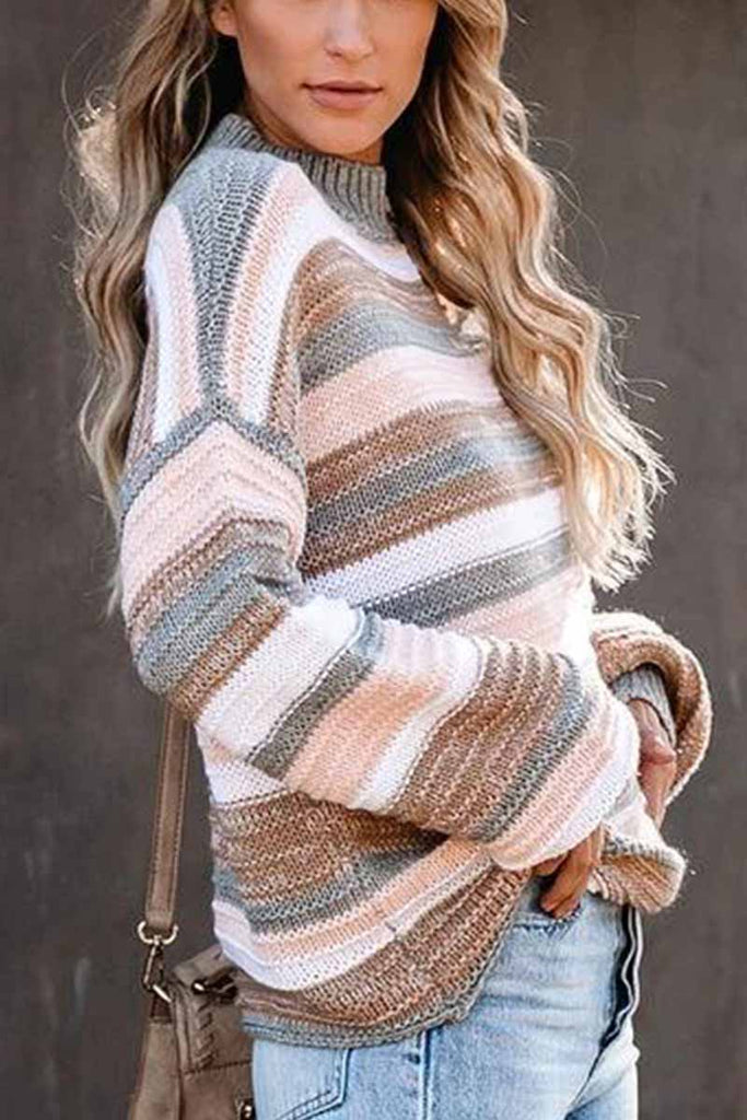 Florcoo O-neck Stitching Striped Long-Sleeved sweater