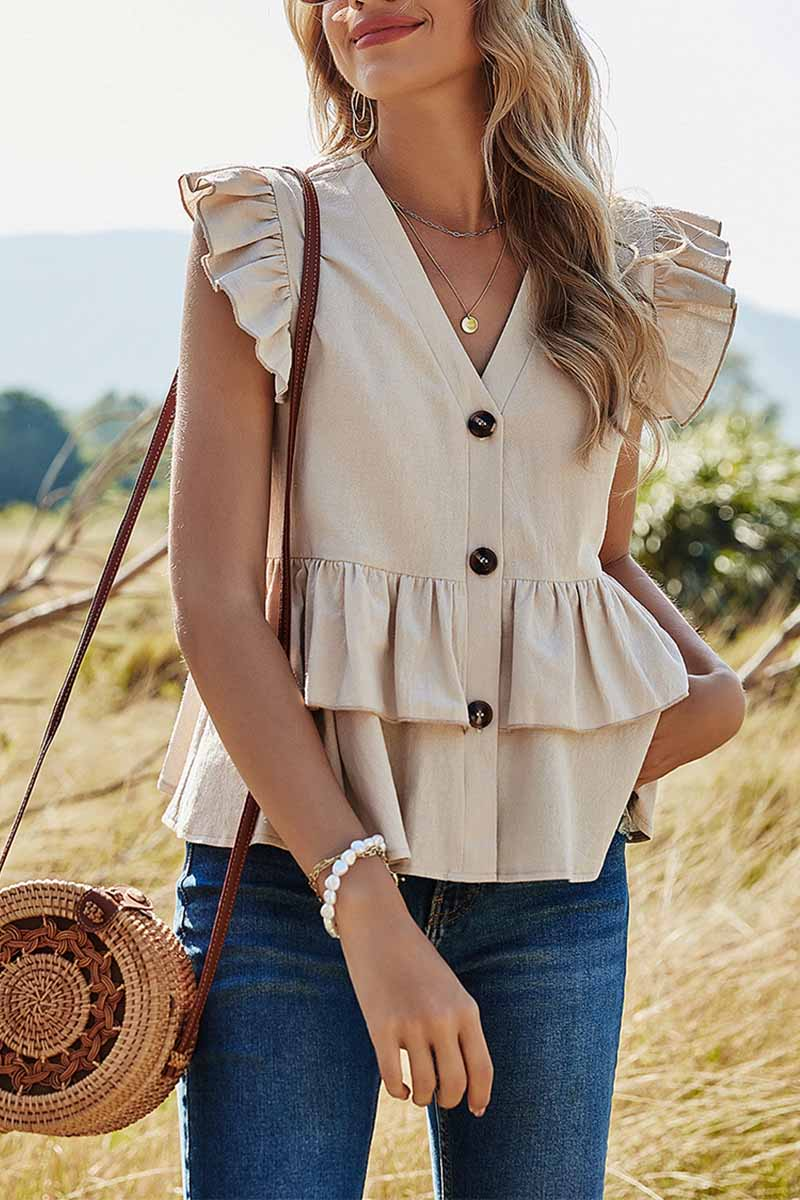Florcoo Pure Color Casual Single Row Shirt V-Neck Tops