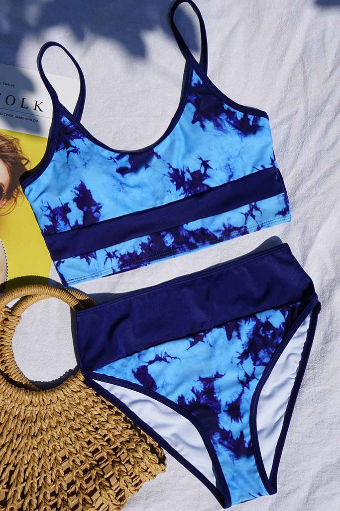 Florcoo Tie Dye High Waisted Bikini Swimsuit
