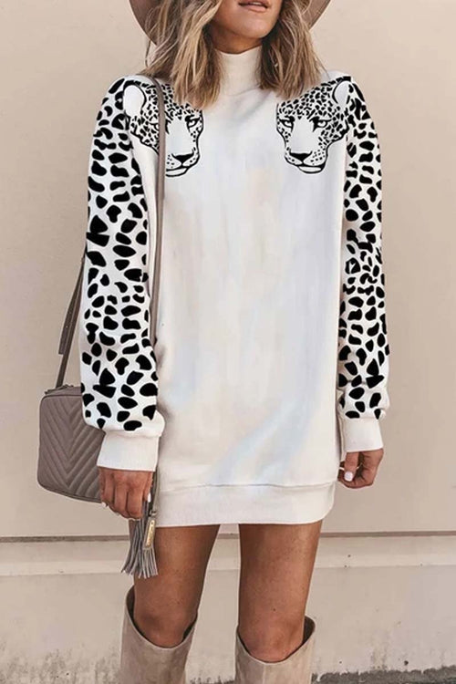 Florcoo Turtleneck Leopard Print Mini Dress