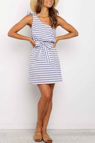 Florcoo Striped Irregular Oblique Shoulder Strap Bow Mini Dress