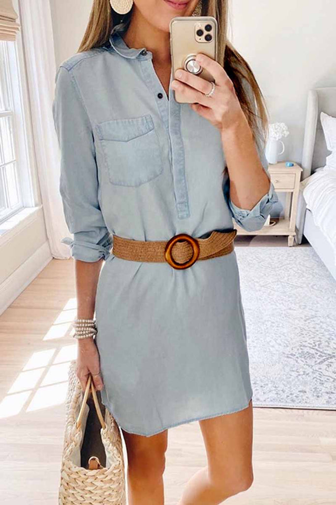 Florcoo Fall Cute Denim Mini Dress With Button (Without Belt)