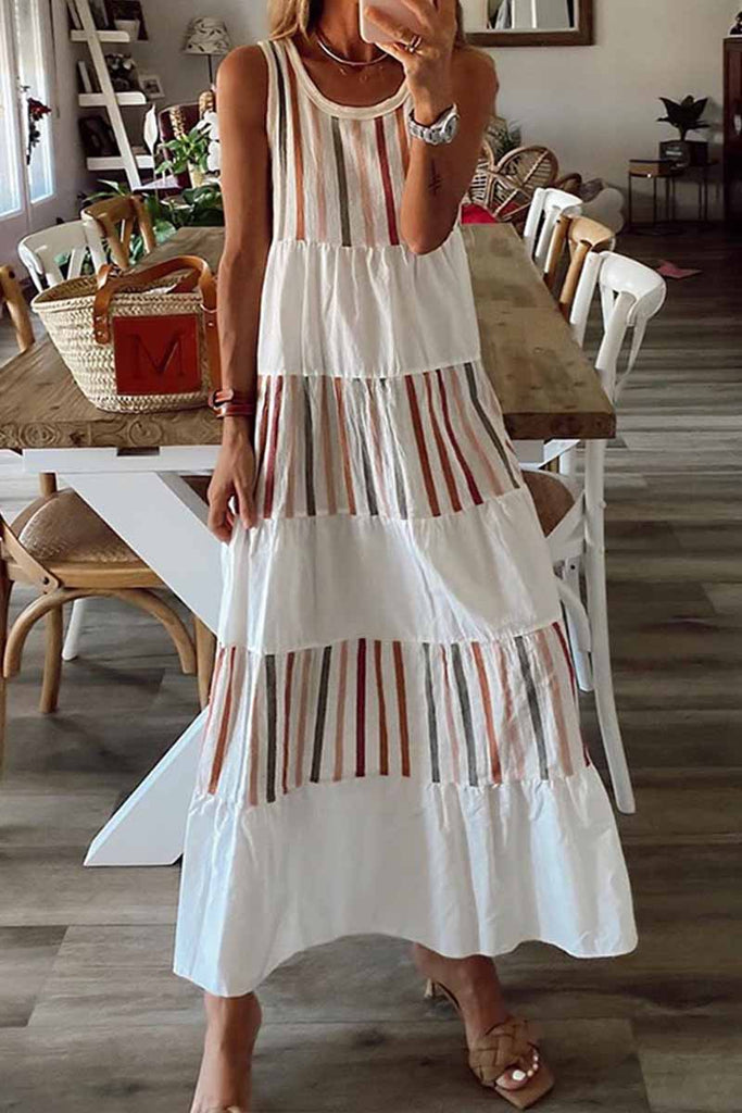Florcoo Contrast Sleeveless Striped Midi Dress