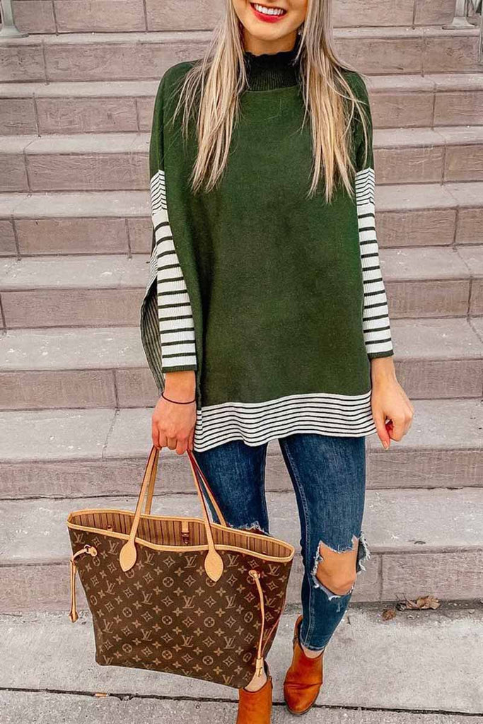 Florcoo Loose Long Sleeve Stitching Stripes Tops