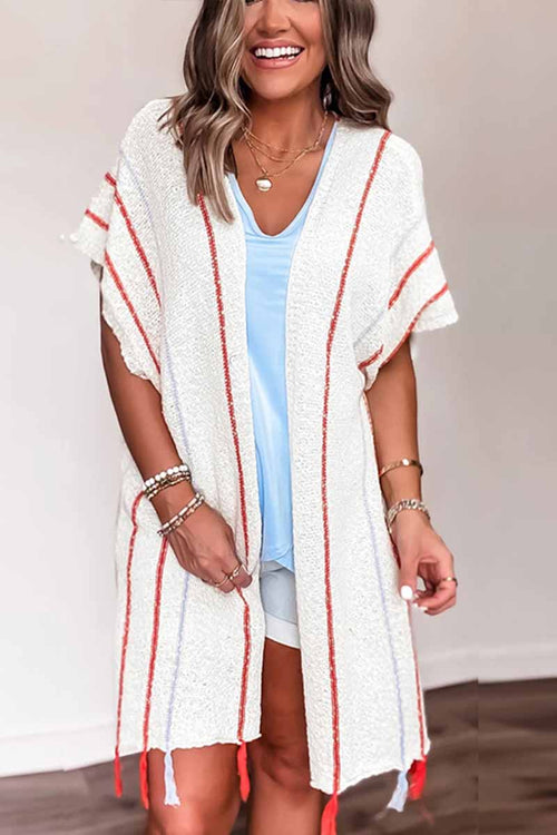 Florcoo Red Striped Knitted Cardigan