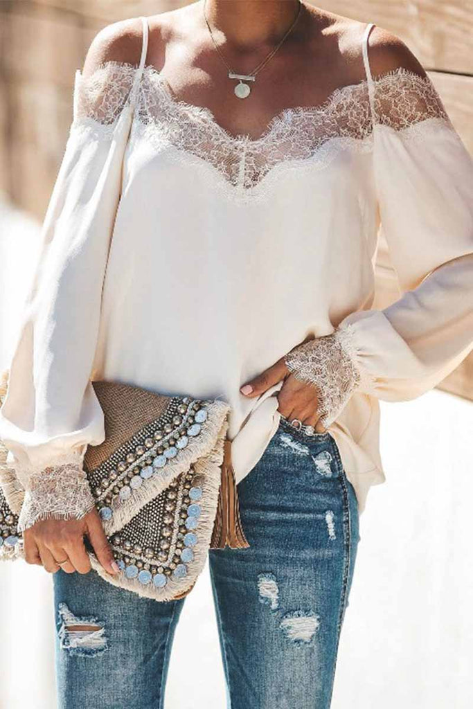 Florcoo Lace Stitching Chiffon Long-sleeved Top