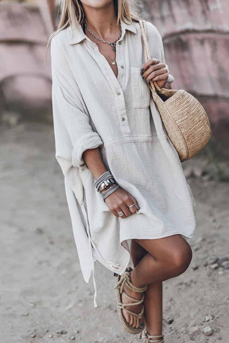Florcoo Casual Loose Cotton And Linen V-neck Dress
