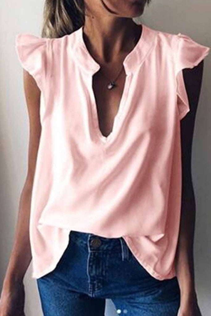 Florcoo Short-sleeved Solid Color Ruffled Casual Blouse