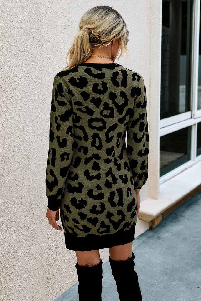 Florcoo Leopard Print Oneck Mini Dress