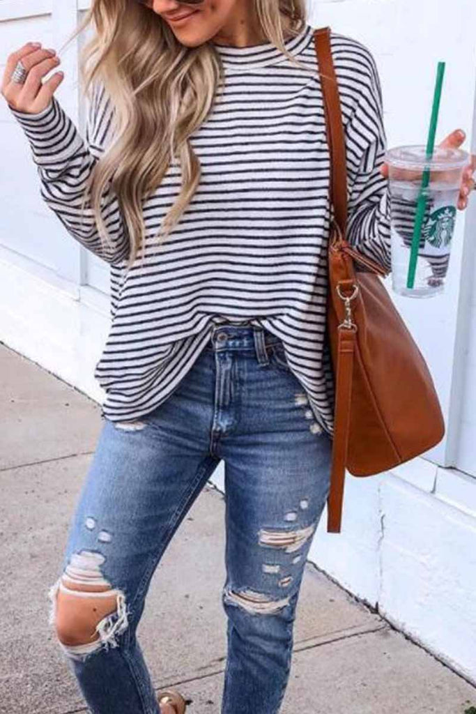 Florcoo Casual Loose Striped Tops