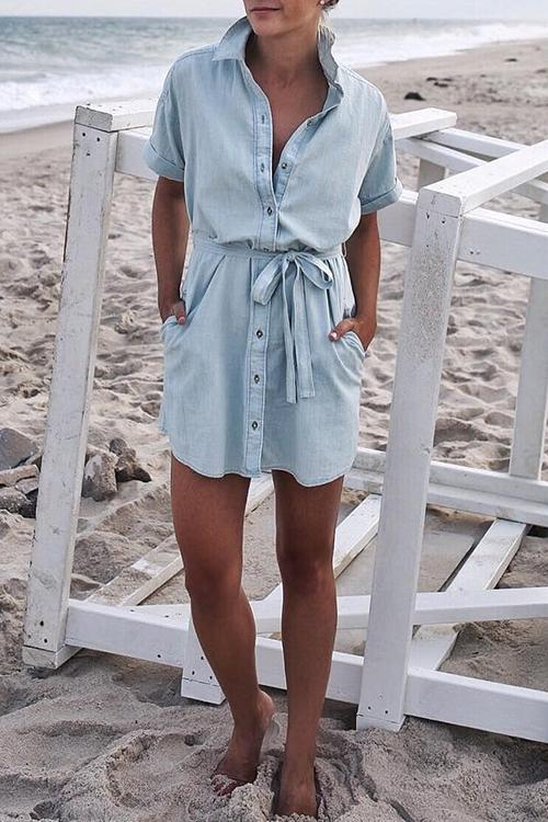 Florcoo Casual Buttons Light Blue Denim Mini Dress