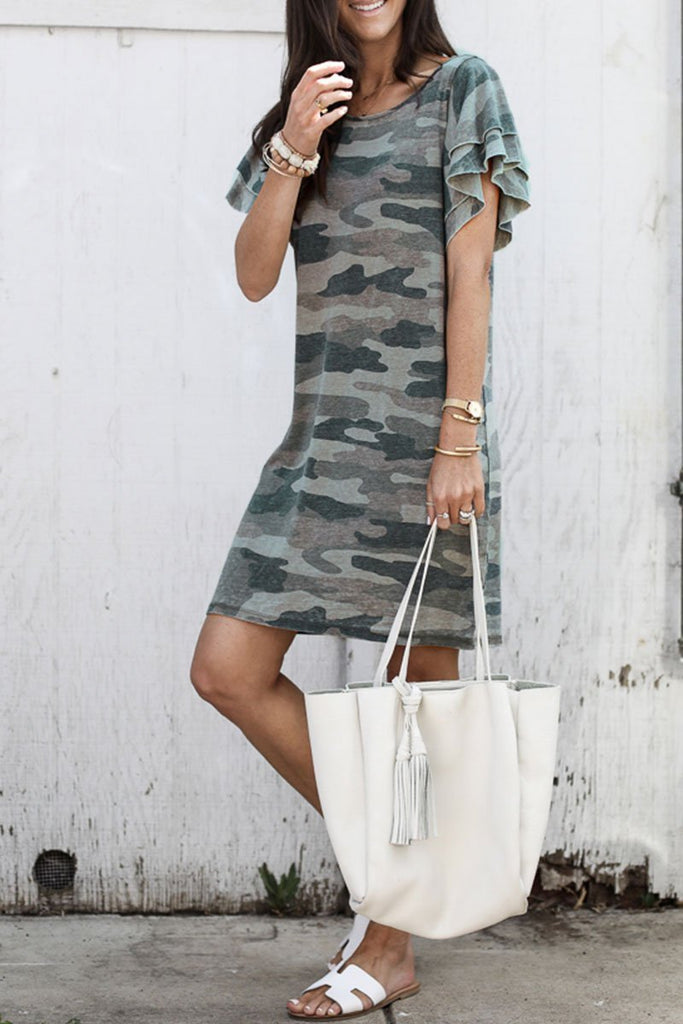 Florcoo Camouflage Army Green Ruffle Sleeves Dress