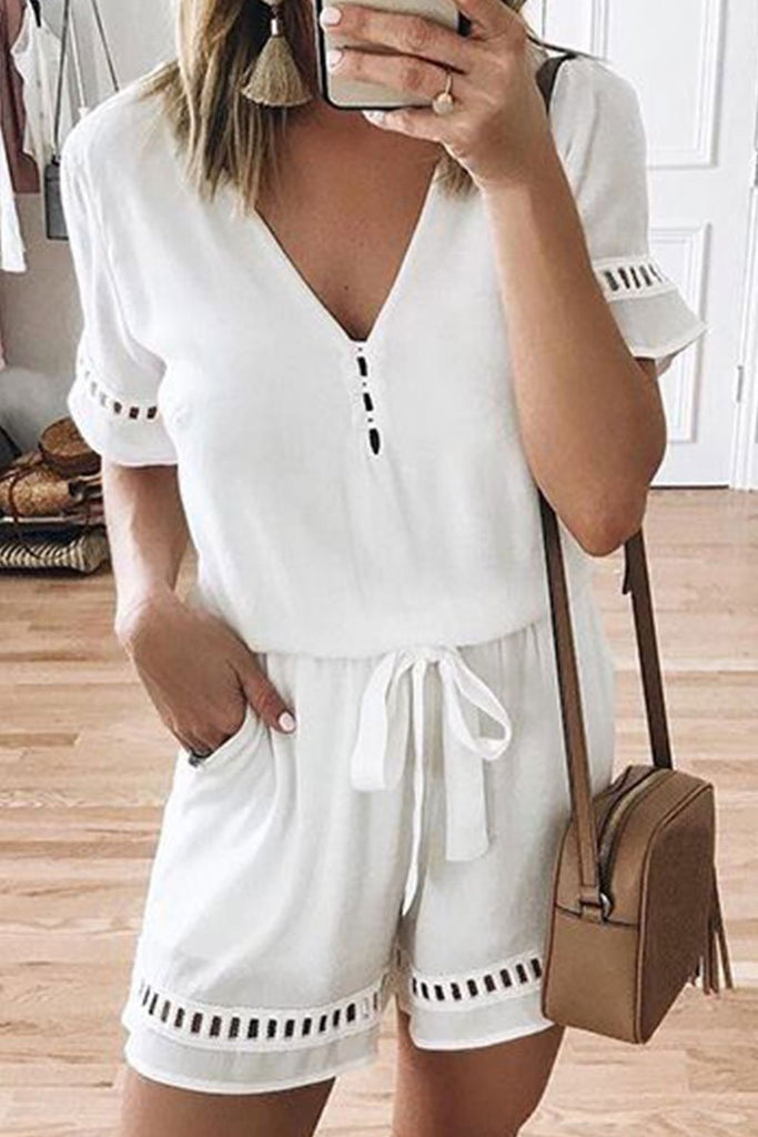 Florcoo V Neck Hollow-out Lace-up Romper