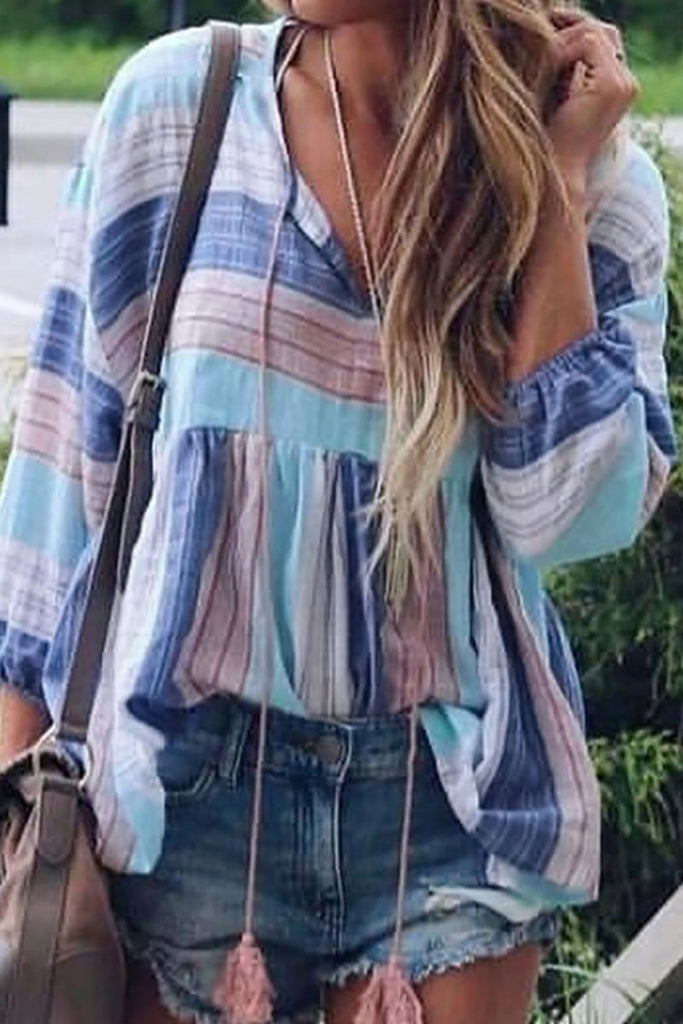 Florcoo Striped Printed Skyblue Blouse