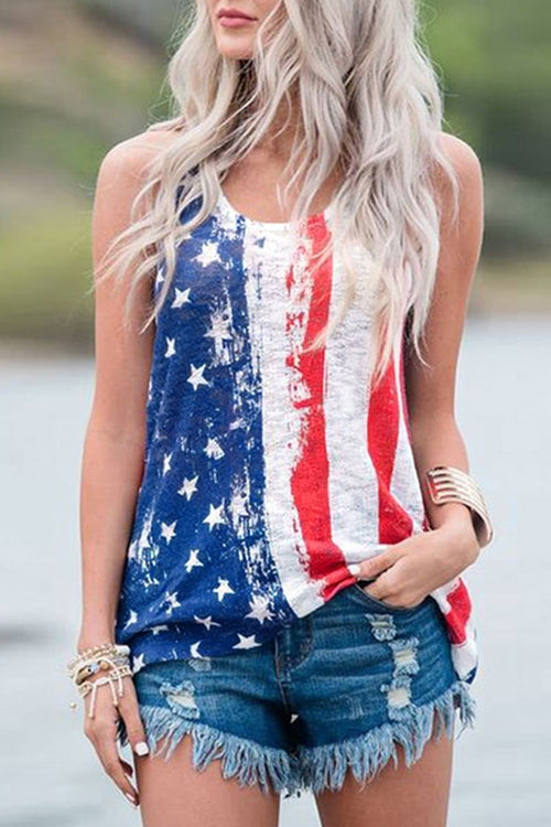 Florcoo Independence Day Printed Tank Top