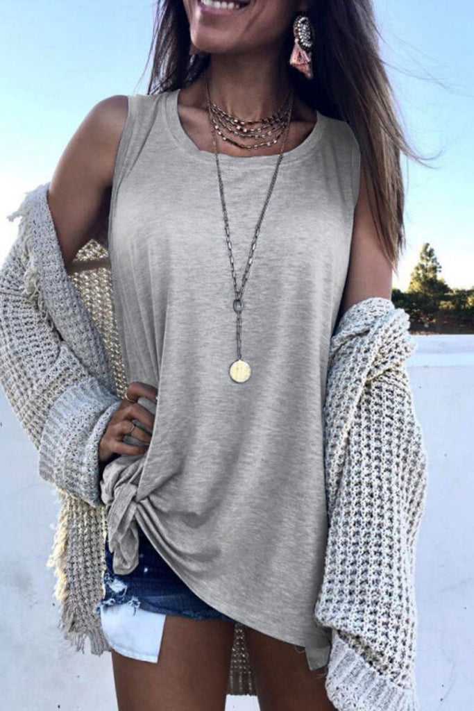 Florcoo O Neck Grey Tank Top