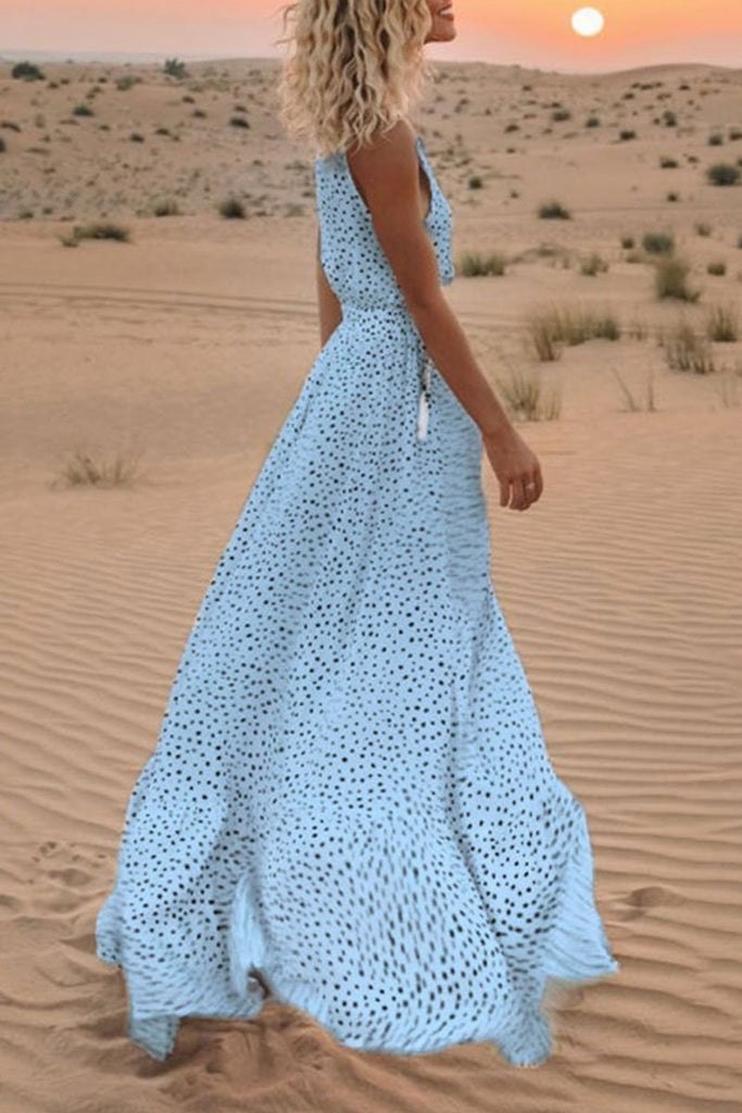Florcoo V Neck Dot Printed Floor Length Dress(3 Colors)