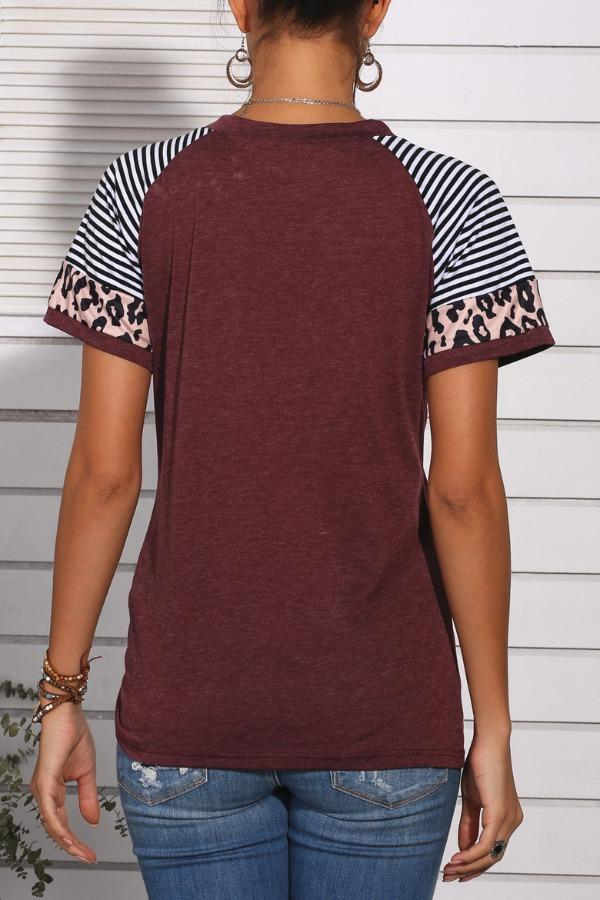 Florcoo Patchwork Leopard Striped Wine Red T-shirt