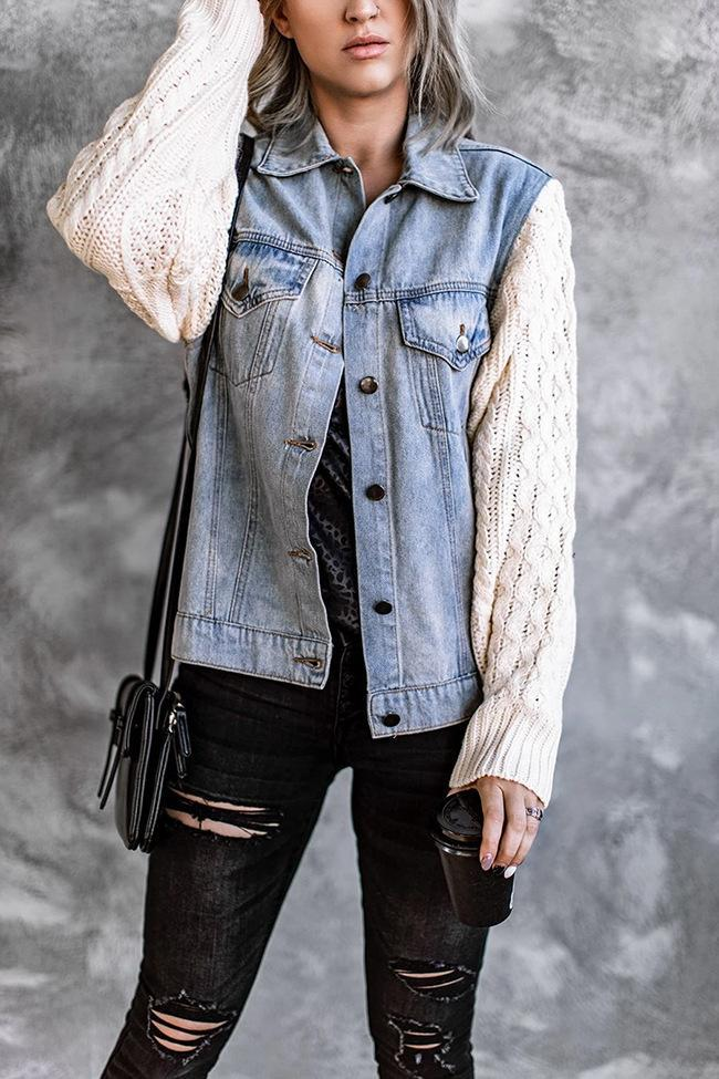 Florcoo Knitted Panel Denim Jacket Tops