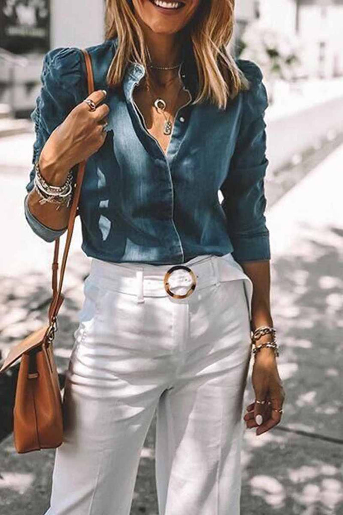 Florcoo Pleated Sleeve V Neck Denim Blouse