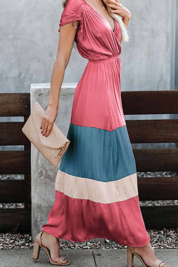 Florcoo Summer Loose Multicolor Stitching V-Neck Short Sleeves Midi Dress
