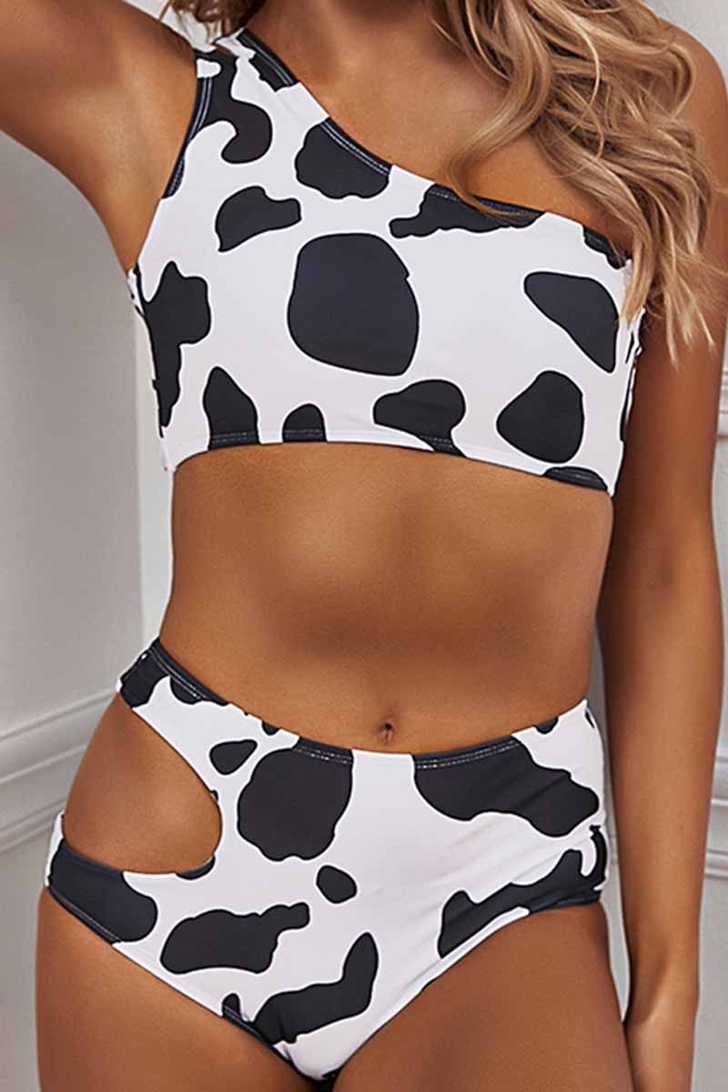 Florcoo Two-Piece Cow Pattern Digital Printing Split Swimsuit