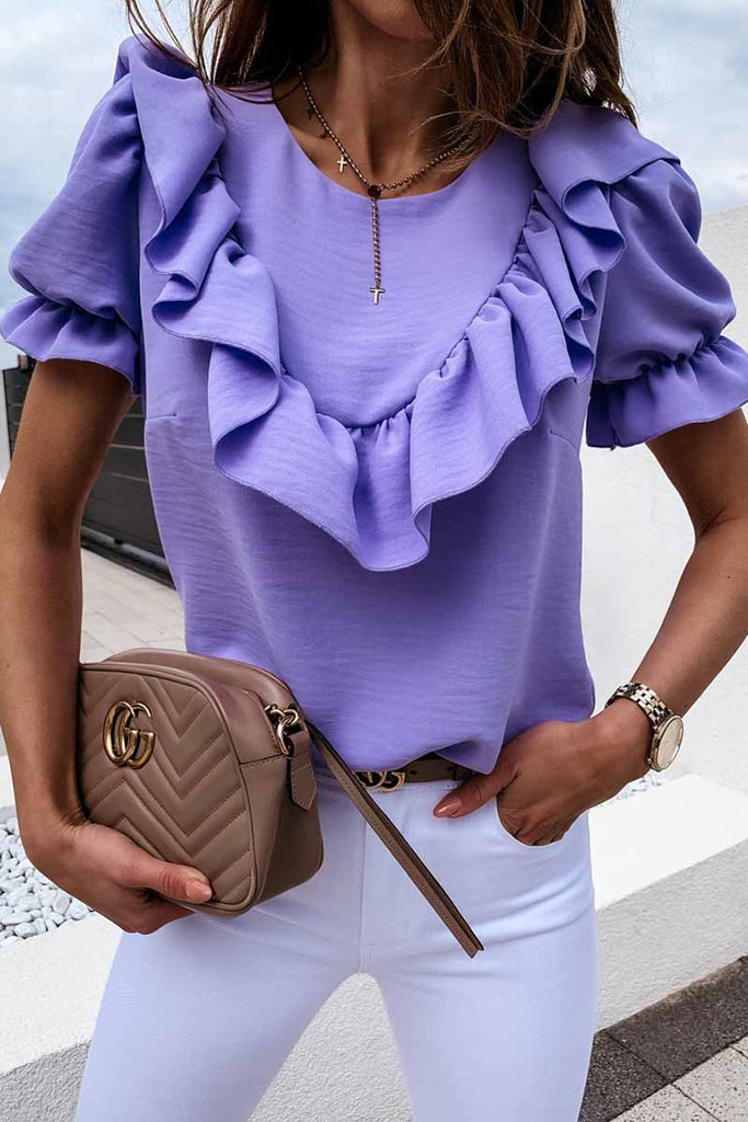 Florcoo Ruffled Loose Short Sleeves Tops