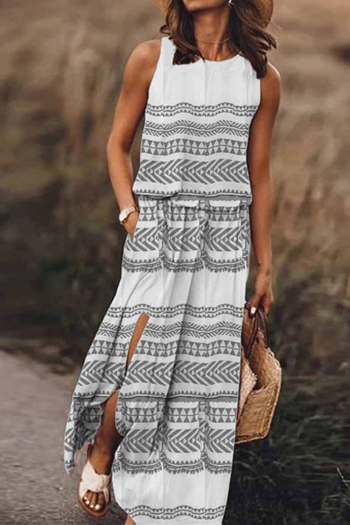 Florcoo Printed Striped Maxi Dress With Pocket