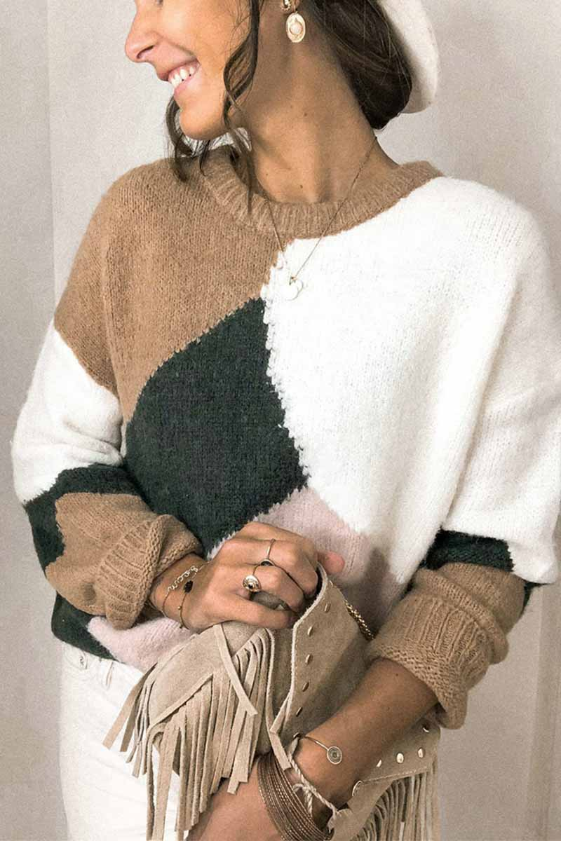Florcoo Round Neck Loose Contrast Stitching Knitted Sweater