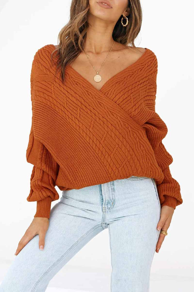 Florcoo Sexy V-neck Off-shoulder Sweater Casual Sweater