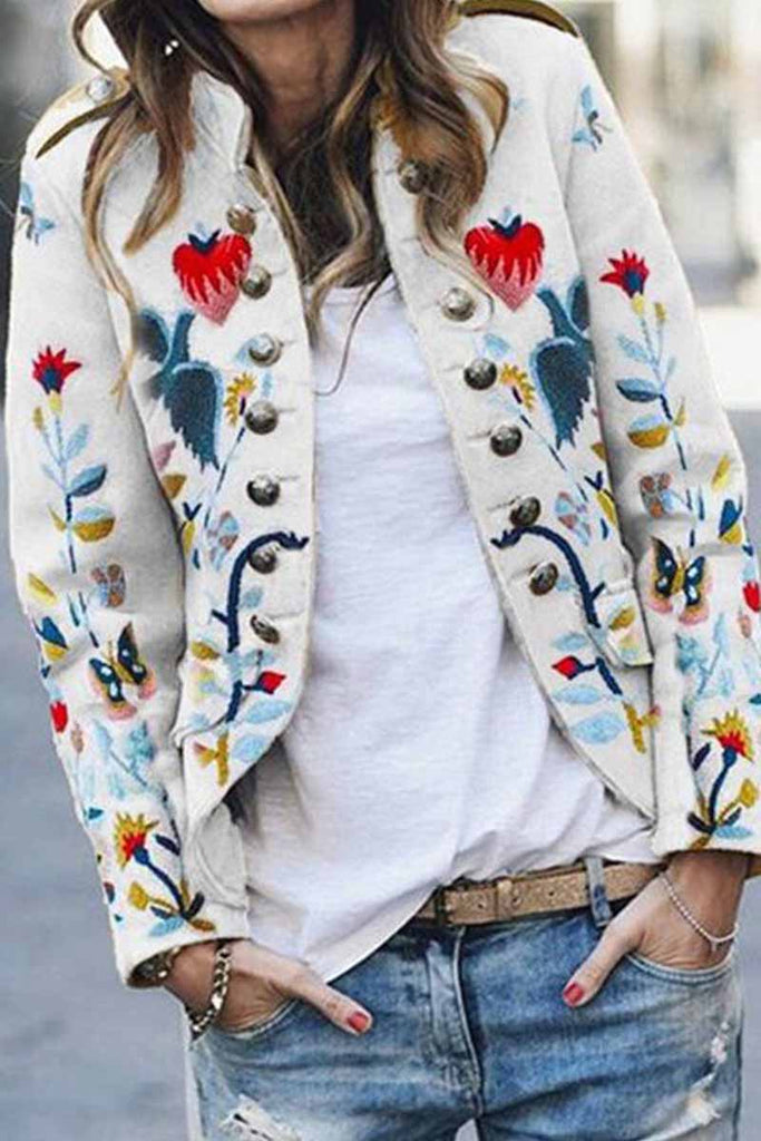 Florcoo Floral Print Button Casual Jacket