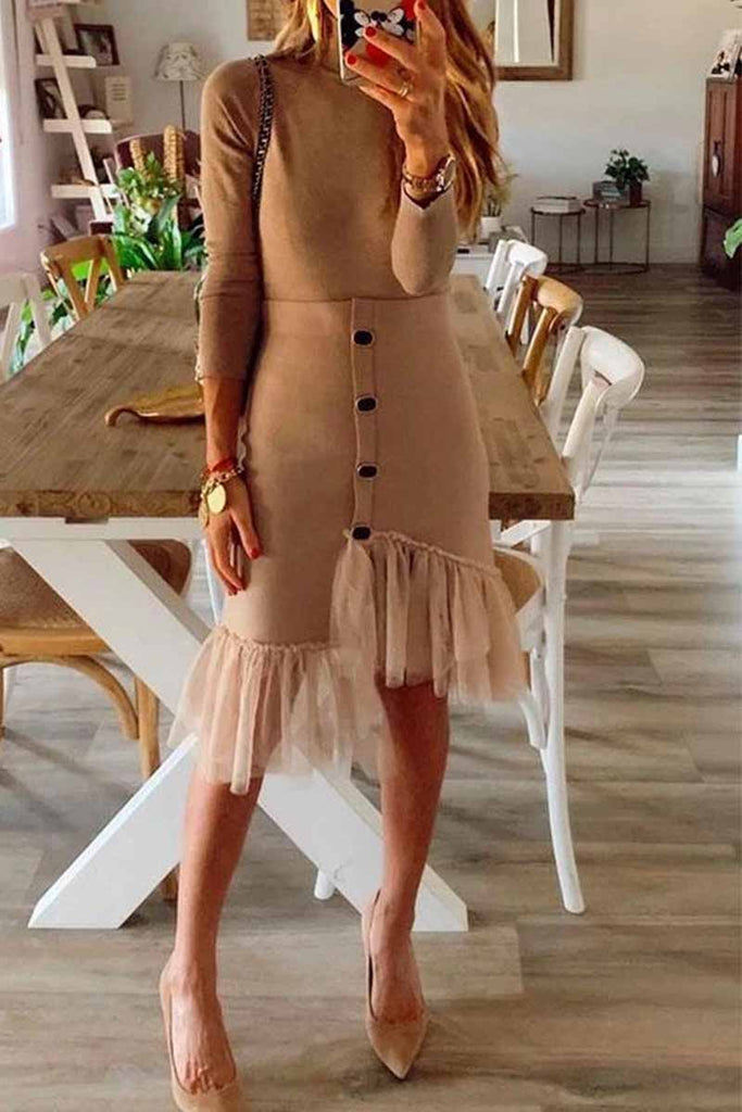 Florcoo Two-piece high neck and long sleeves Mini Dress