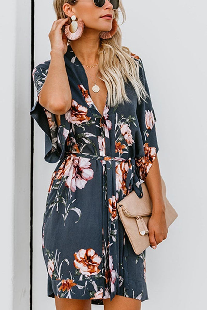 Florcoo Floral Printed Lace-up Dress