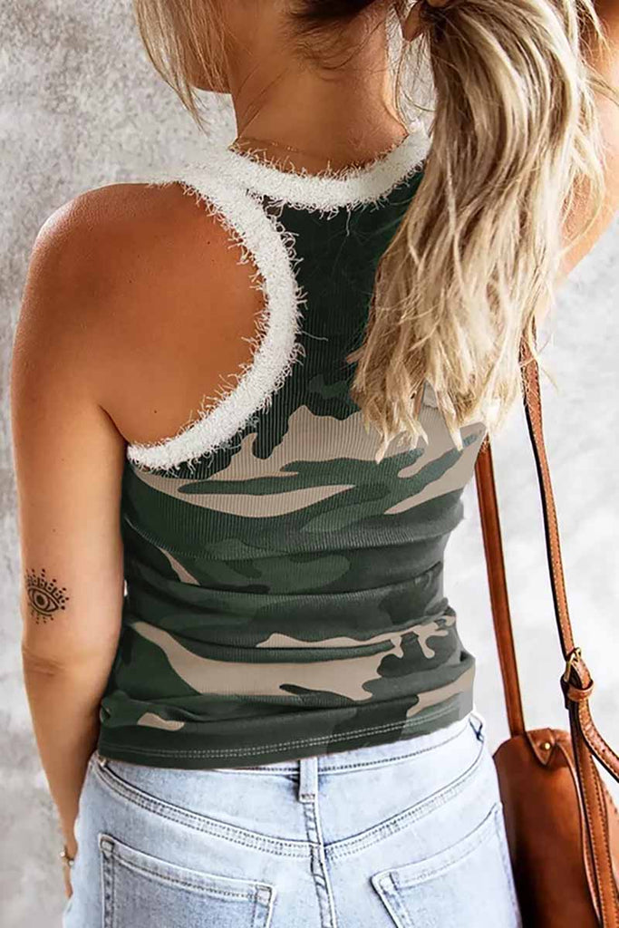 Florcoo Camouflage Stitching Plush Neckline Tops