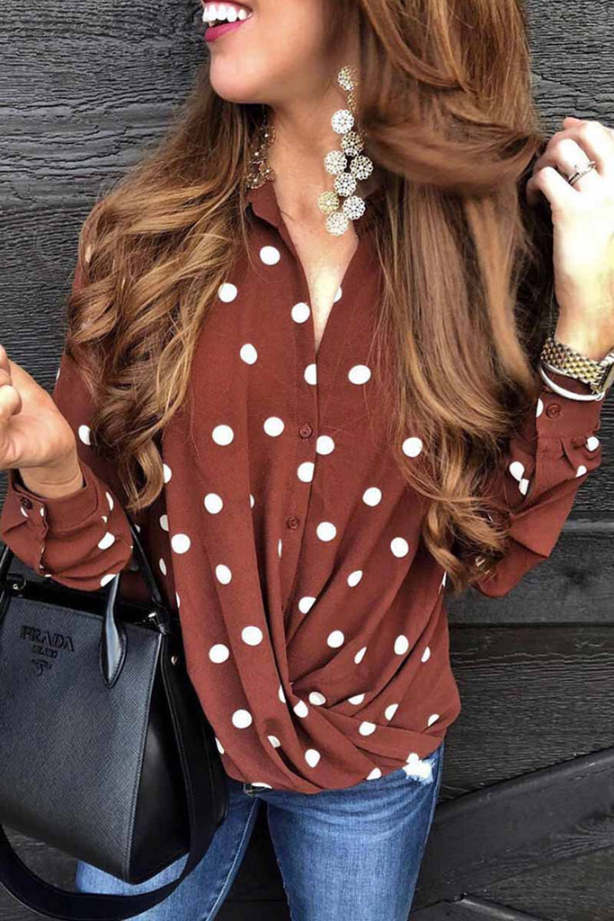Florcoo Fashion Polka Dot Suit Collar Button Shirt Tops
