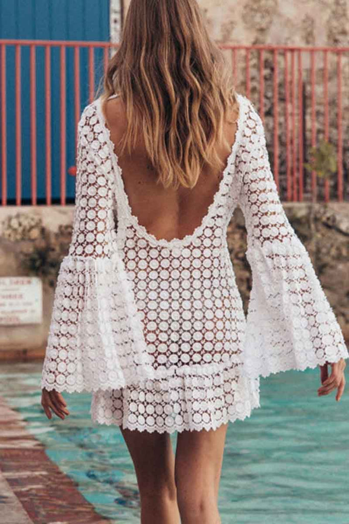 Florcoo Lace Round Neck Beach Cover-up
