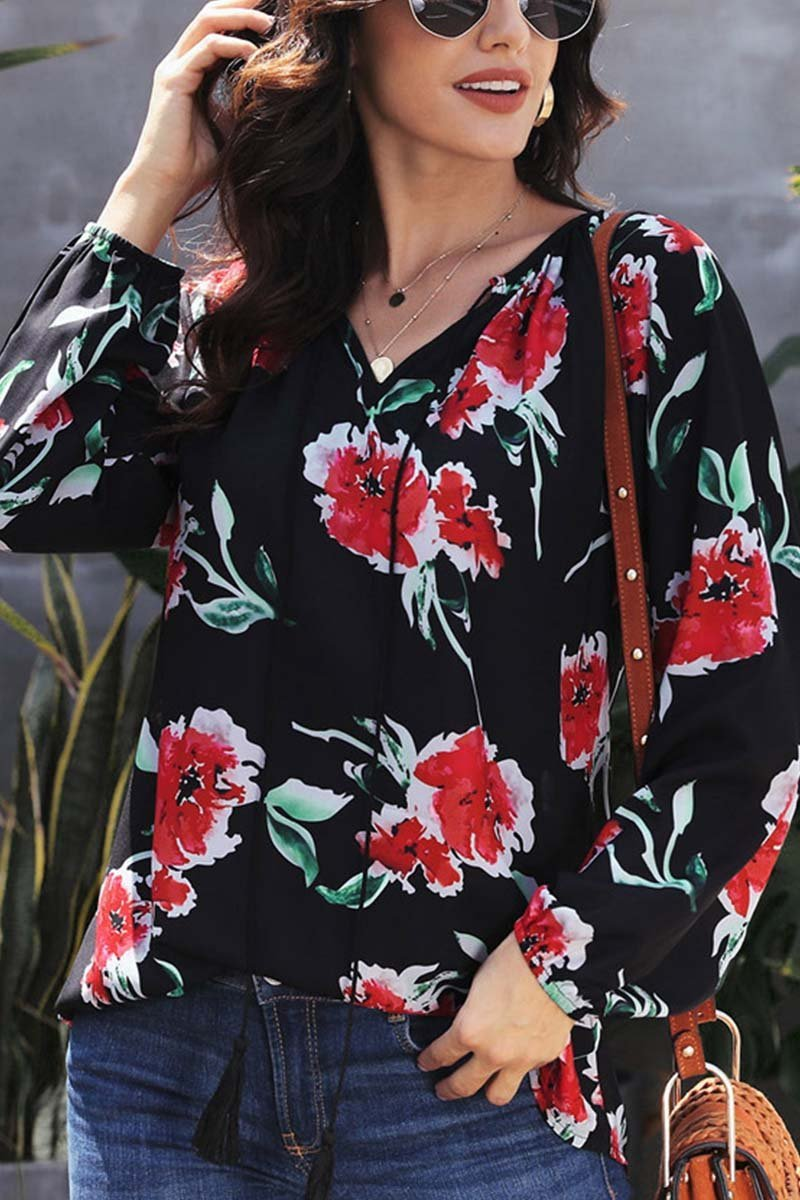 Florcoo Floral Printed Chiffon Tops