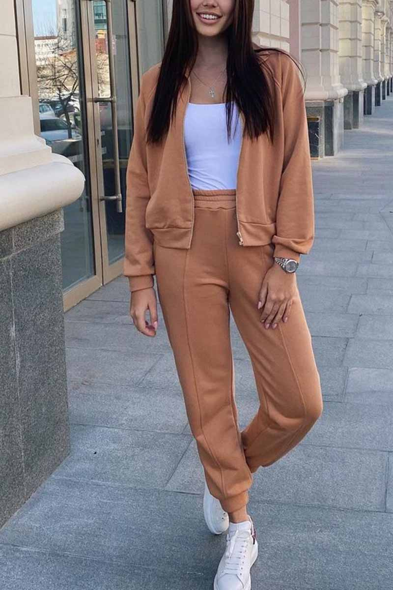 Florcoo Loose Solid Color Two-Piece Suit Tops