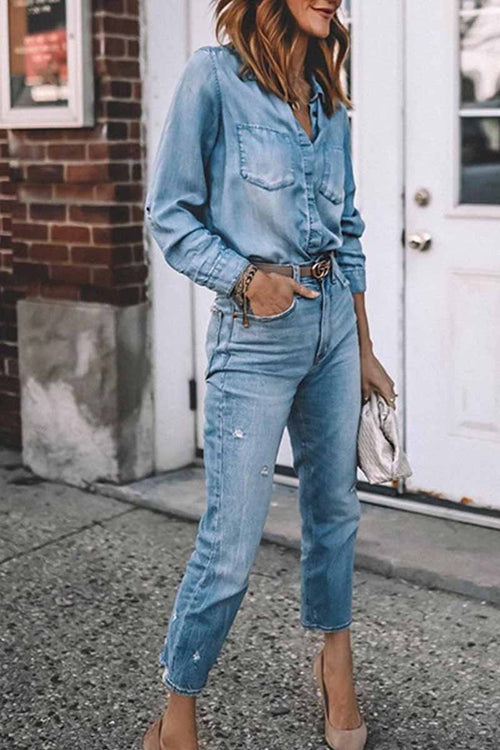 Florcoo Sexy Slim Washed Retro Denim Shirt