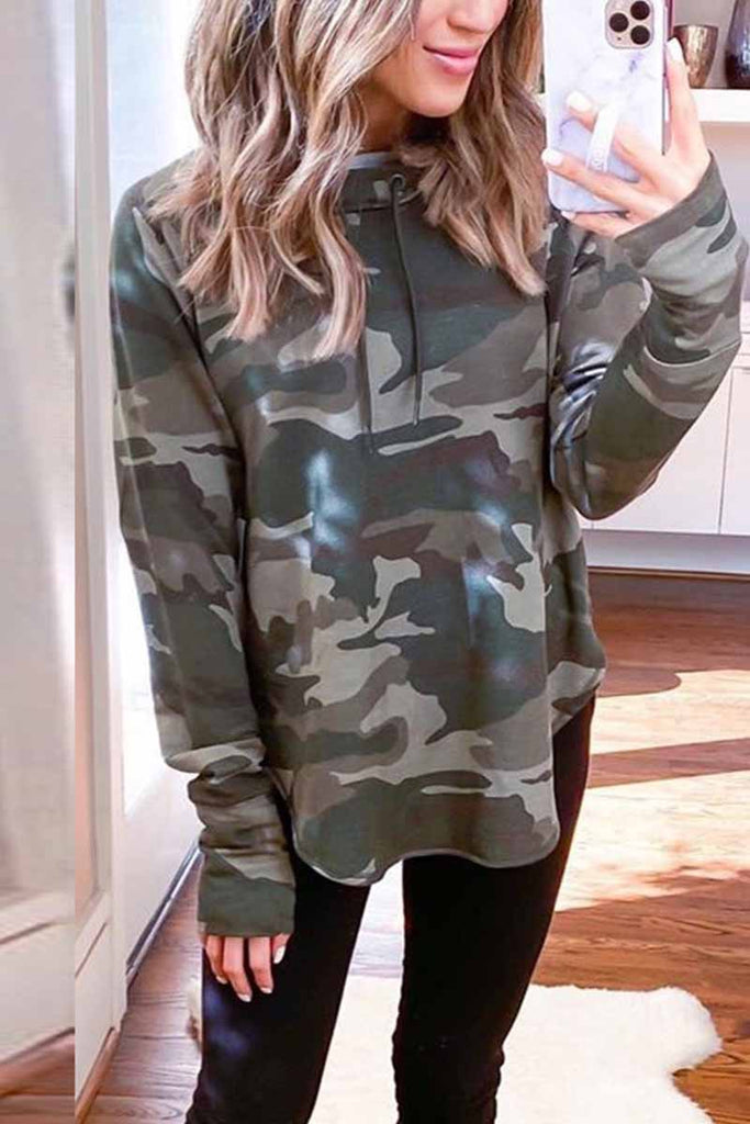 Florcoo Cute Loose Camouflage Hoodie