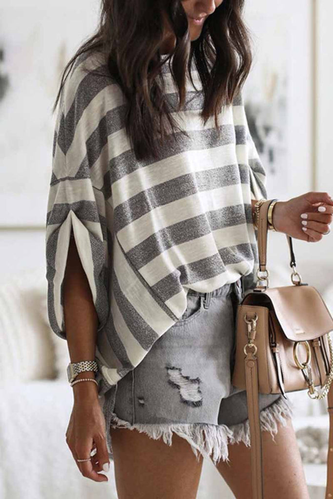 Florcoo Striped Loose Round Neck Top