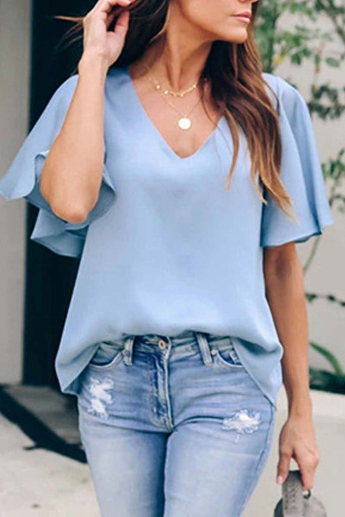 Florcoo V Neck Casual Solid Short Sleeve Tops