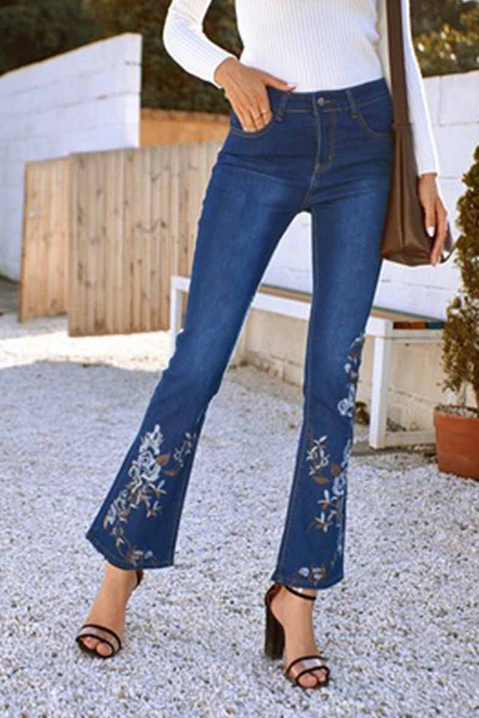 Florcoo Denim High Waist Embroidered Trousers