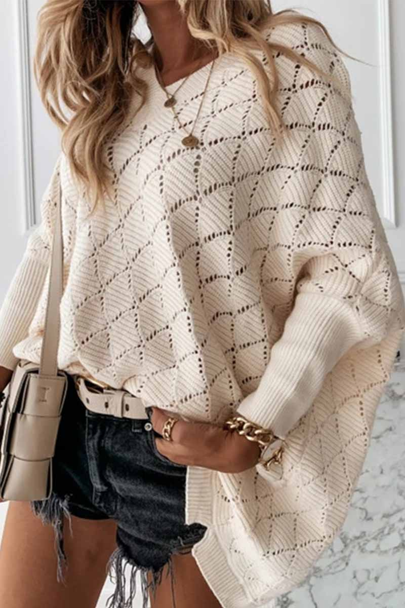 Florcoo V-Neck Solid Color Hollow Bat Sleeve Sweater