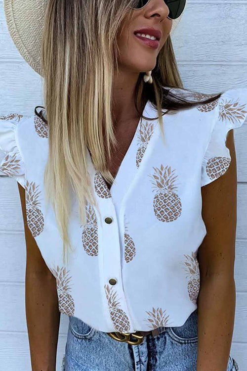 Florcoo Summer Pineapple Cactus Print V-Neck Lotus Sleeve Shirt