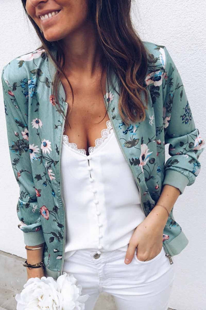 Florcoo Fashion Printed Crew Neck Jacket