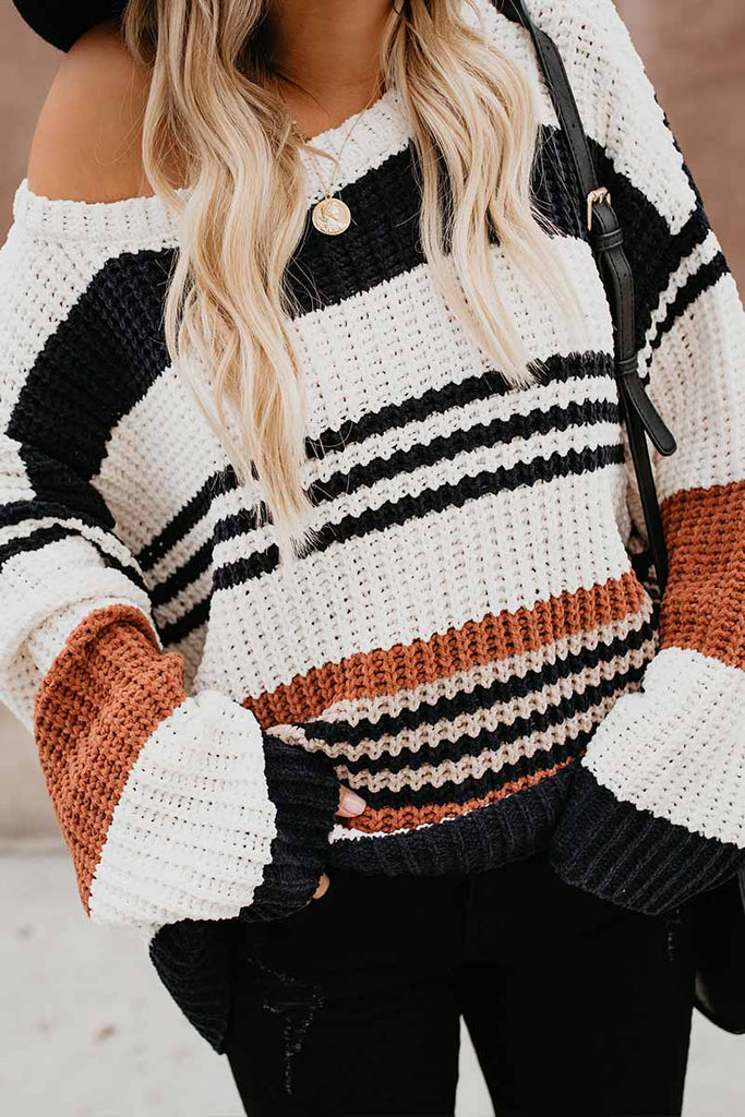 Florcoo Paneled Knitted Striped Sweater