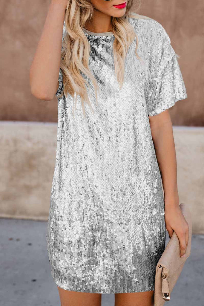 Florcoo Short Sleeve Sequin Dress