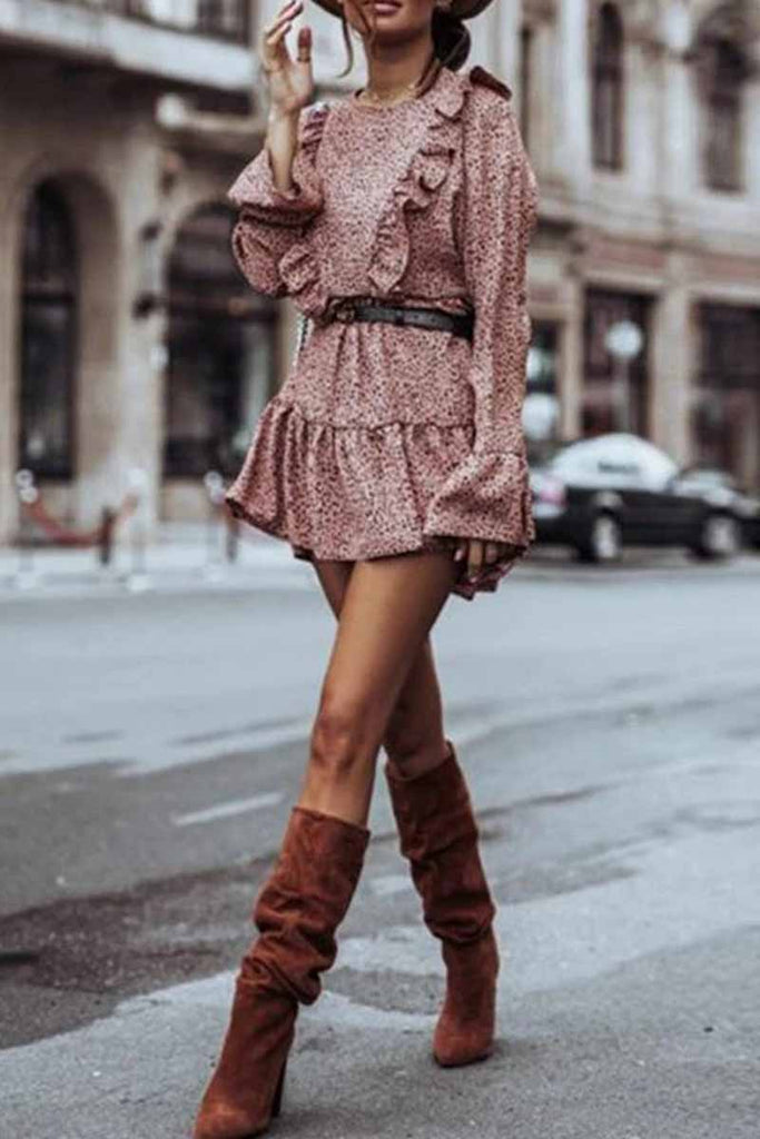 Florcoo Ruffle Print Long Sleeves Mini Dress